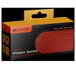 Slika izdelka: CANYON Portable Bluetooth V4.2+EDR stereo speaker with 3.5mm Aux, microSD card slot, USB / micro-USB port, bulit in 300mA battery, Black and Orange