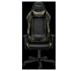 Slika izdelka: Gaming chair, PU leather, Original foam and Cold molded foam, Metal Frame, Top gun mechanism, 90-165 dgree, 3D armrest, Class 4 gas lift, Nylon 5 Stars Base, 60mm PU caster, Black+camouflage pattern