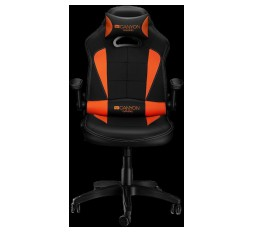 Slika izdelka: Gaming chair, PU leather, Original and Reprocess foam, Wood Frame, Top gun mechanism, up and down armrest, Class 4 gas lift, Nylon 5 Stars Base,50mm PU caster, black+Orange.